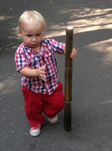 Tate charmed lots of people while walking with his bamboo walking stick!