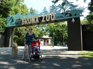Tate and I at the front entrance to the Zoo.