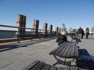 Tate walking along the waterfront.