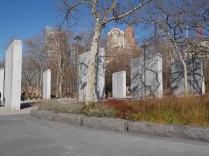 The granite pylons.