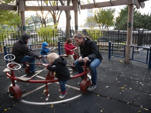 A pedal powered carousel.