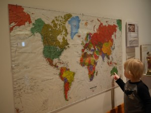 Tate showing us where Australia is.