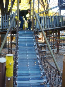 That bridge to climb up was so steep and slippery the kids couldn't climb up without sliding back down again!