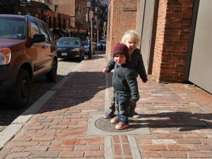 Hanging out on the Freedom Trail marker for Paul Revere's house.