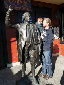 """Asked Tate who the statute was of and he said """"Daddy"""".  See any resemblance?  It is actually Samuel Adams."""