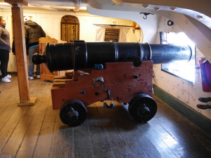 A canon below deck.