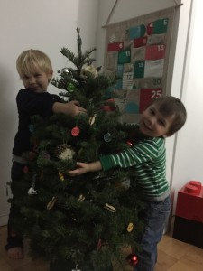 Loving the tree so much they had to cuddle it!