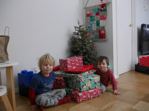 Waiting to open their presents.