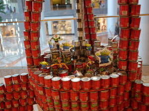 """Called """"To CAN-finity... And Beyond!"""" by Arup.  Made out of tomato sauce and sweet peas."""