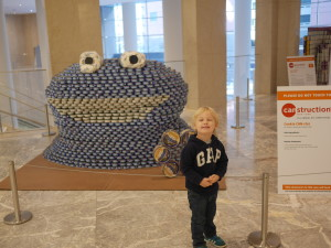"""Such a favourite that Tate wanted to have a photo with it.  Called """"Cookie CAN-ster"""" by Perkins Eastman/Harlem RBI.  Made out if different canned tuna."""