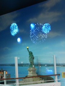 Fireworks over the Statue of Liberty.